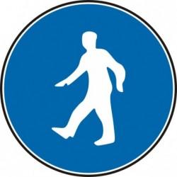 """Знак """"Пешеходците да използват този маршрут"""""""